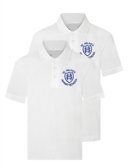 St Helen's Infant White Polo Twin Pack